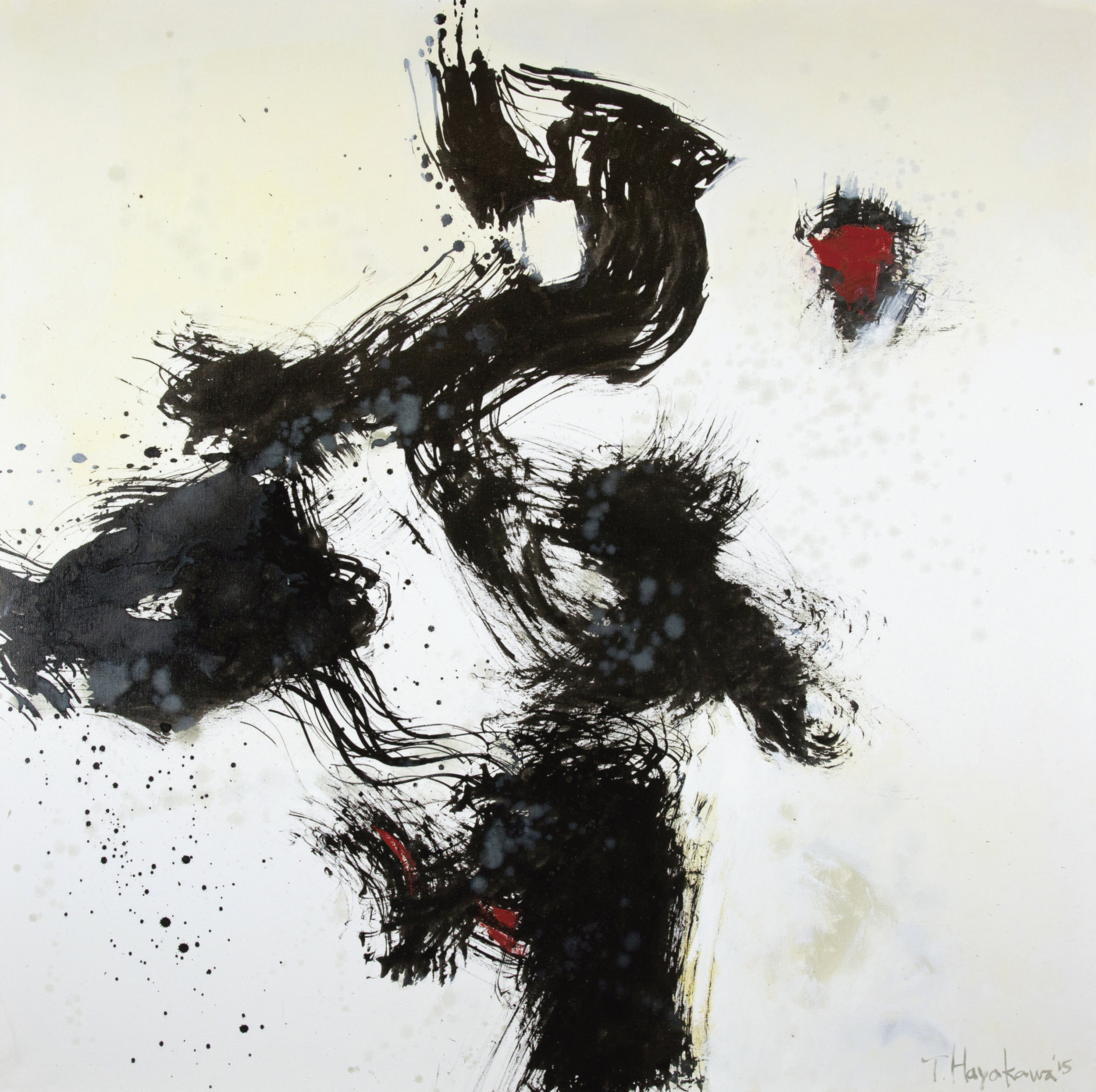"Tadashi Hayakawa,  Spirit of Sumi #3 , 2015. Sumi/oil, 48x48 inches. Courtesy of the artist. Hayakawa's  Spirit of Sumi  series served as inspiration for the poem ""Sumi-e"" (below)."