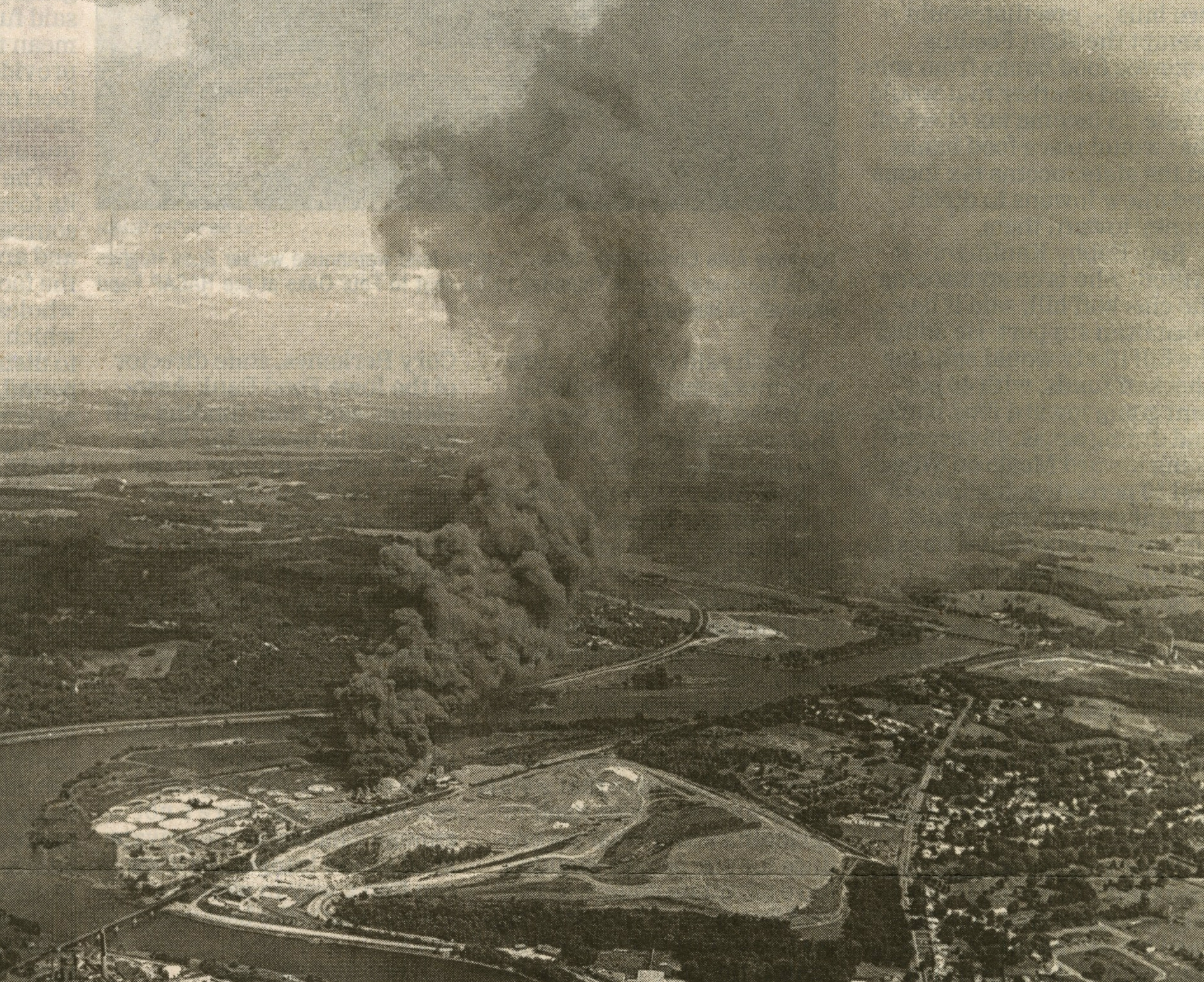 """On July 16, 1985, an explosion occurred during the dismantling of a sewage treatment plant in Cedar Rapids, Iowa. Local residents refer to this event as """"Toxic Tuesday.""""  Image: The Cedar Rapids Gazette ."""