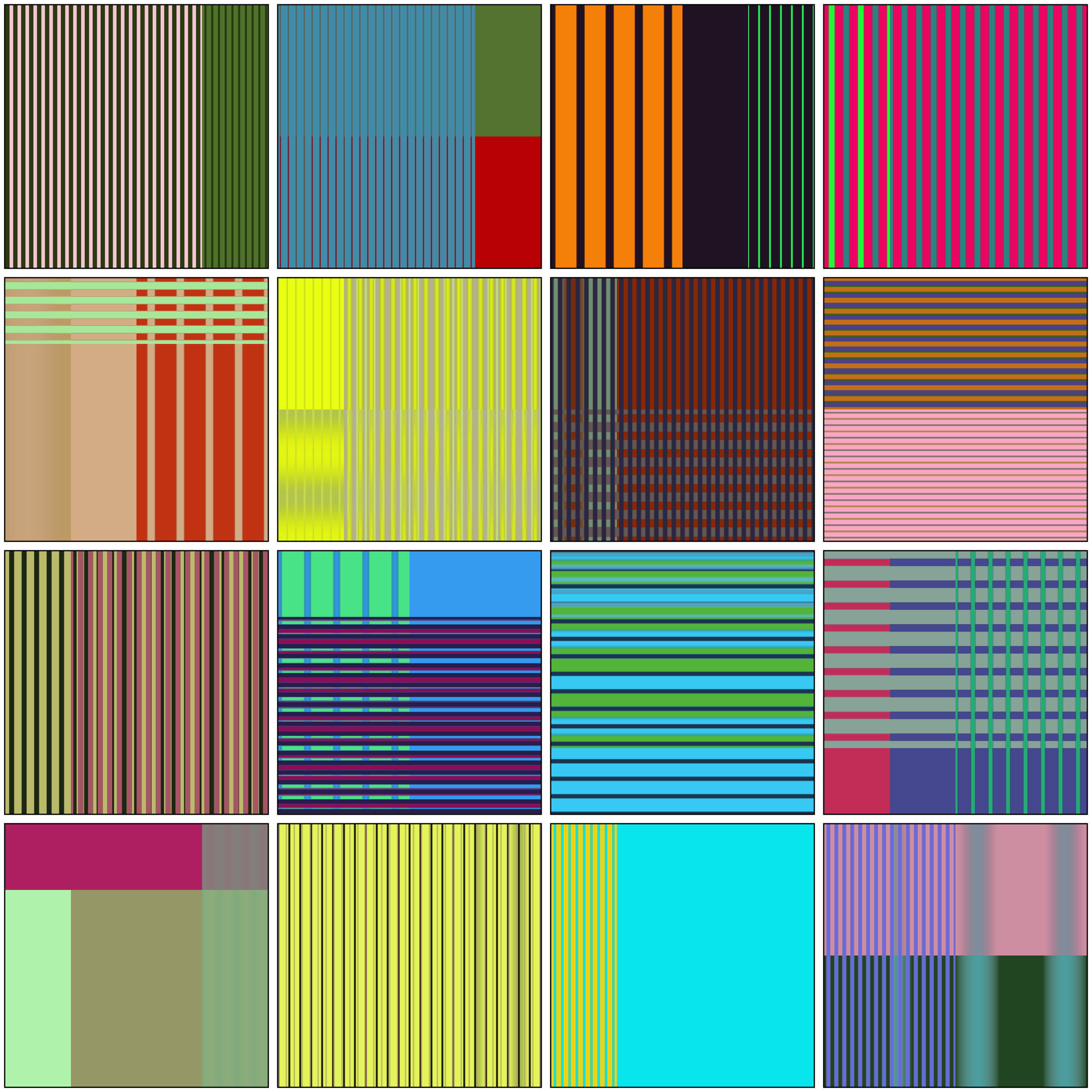 Zombie Formalist , (2018) work in progress. Selection of stripe studies. Image courtesy of the artist.