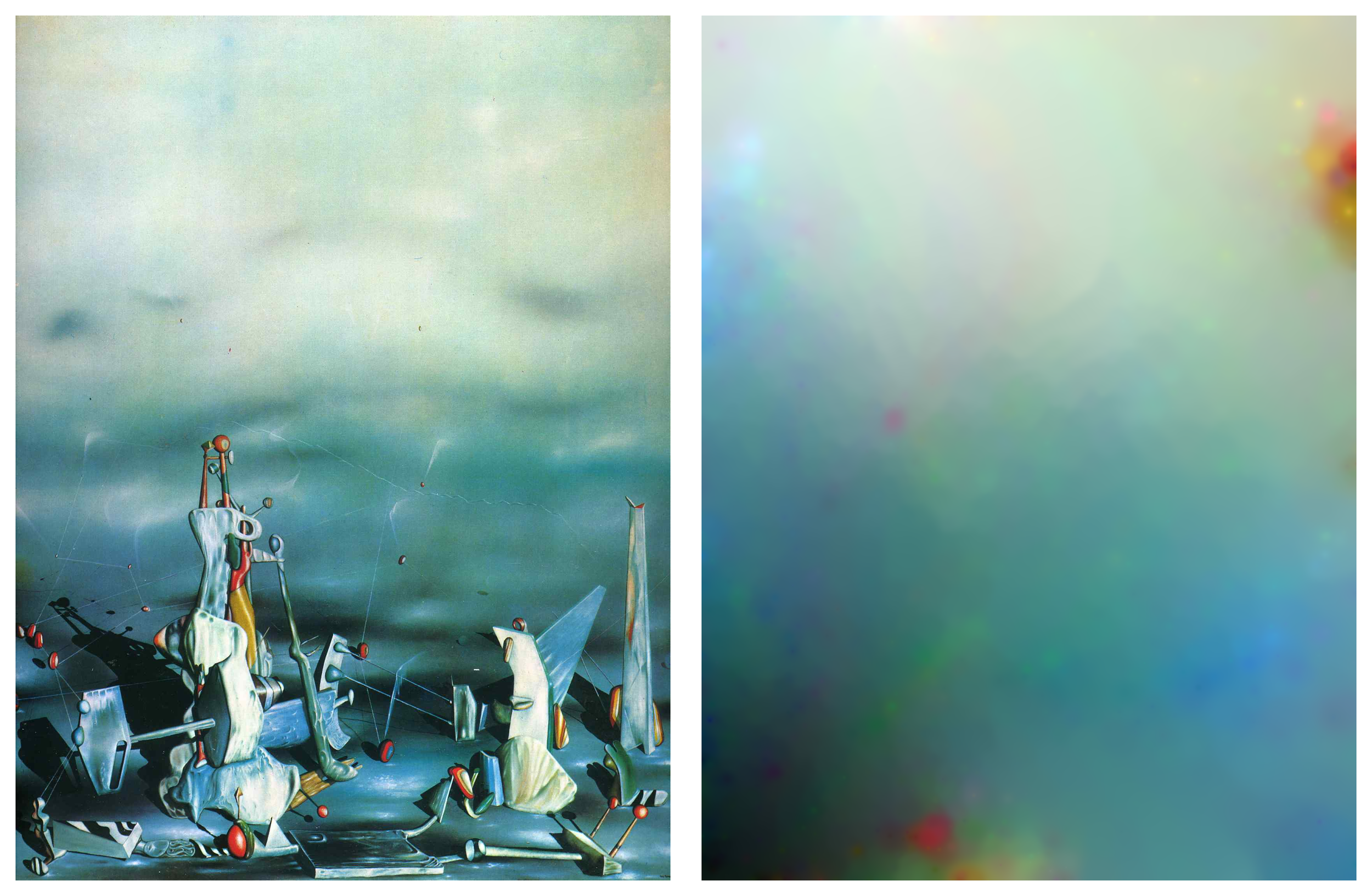 Palace of Windowed Rocks . (left) Yves Tanguy (1942).  Machines of the Present Consume the Imaginations of the Past , (right) work in progress (2016). Image courtesy of the artist.