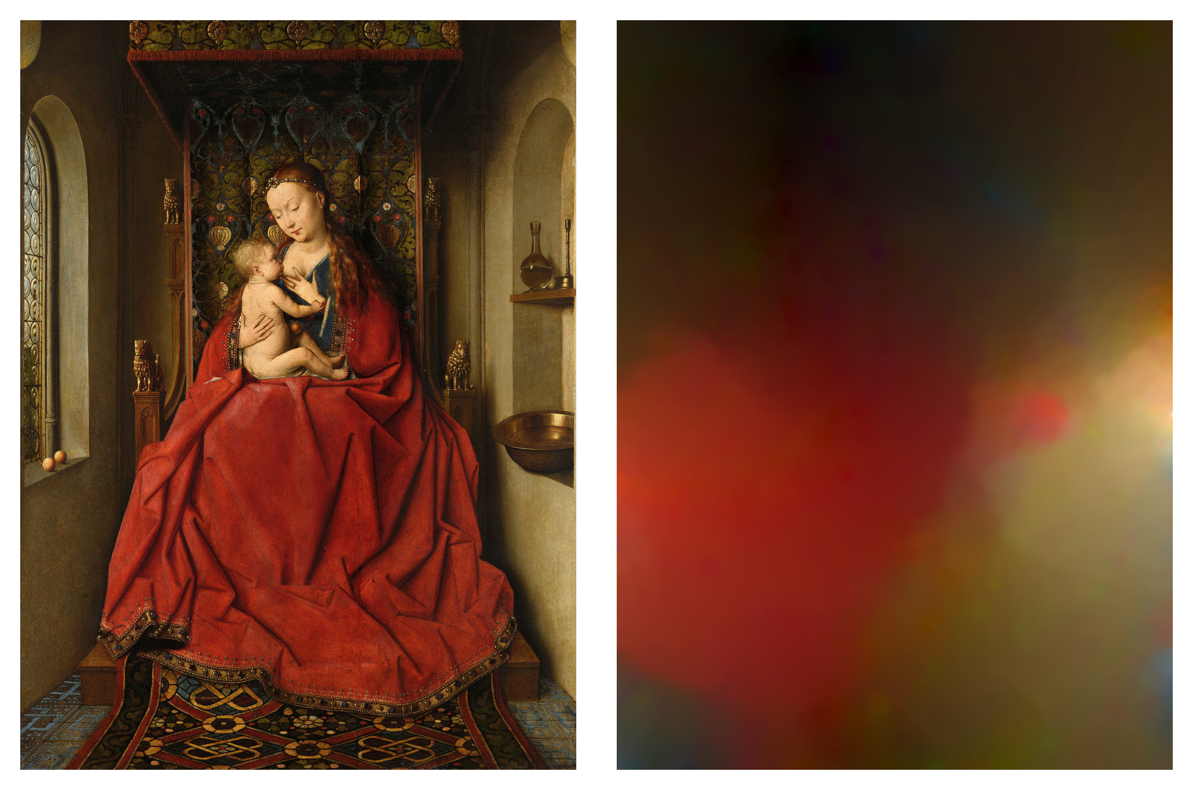 Lucca Madonna.  (left) Jan van Eyck (1436).  Machines of the Present Consume the Imaginations of the Past,  (right) work in progress (2016). Image courtesy of the artist.