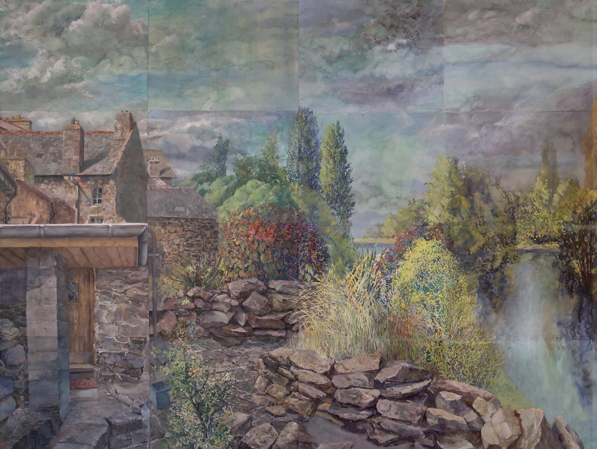 Barry Nemett, Detail,  Stone Houses and Garden , Lehón, 2012. Gouache on paper, 70 x 96 in. Courtesy of the artist.
