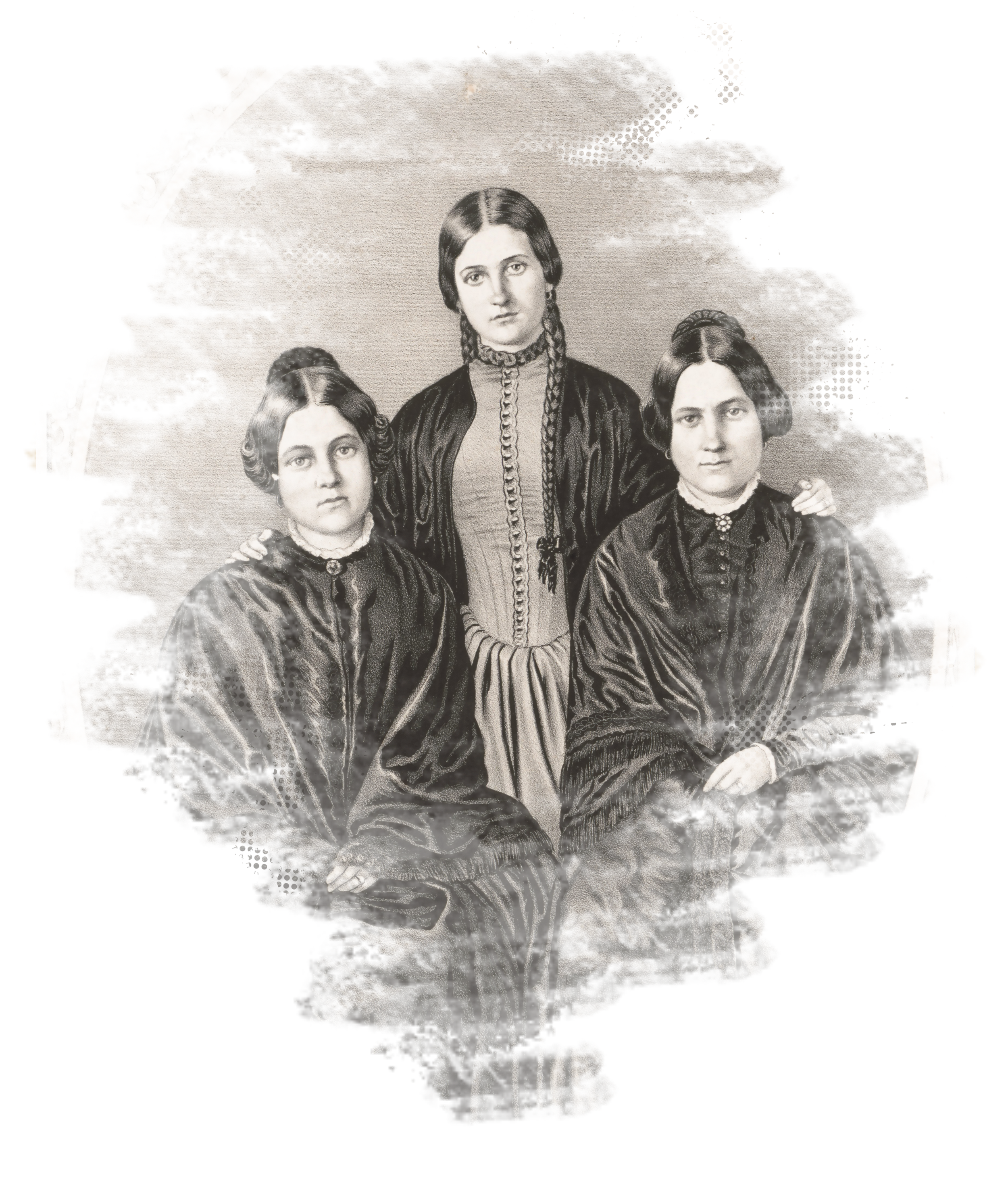 The Fox Sisters. (From left to right: Margarets, Catherine and Leah, 1852, Library of Congress.