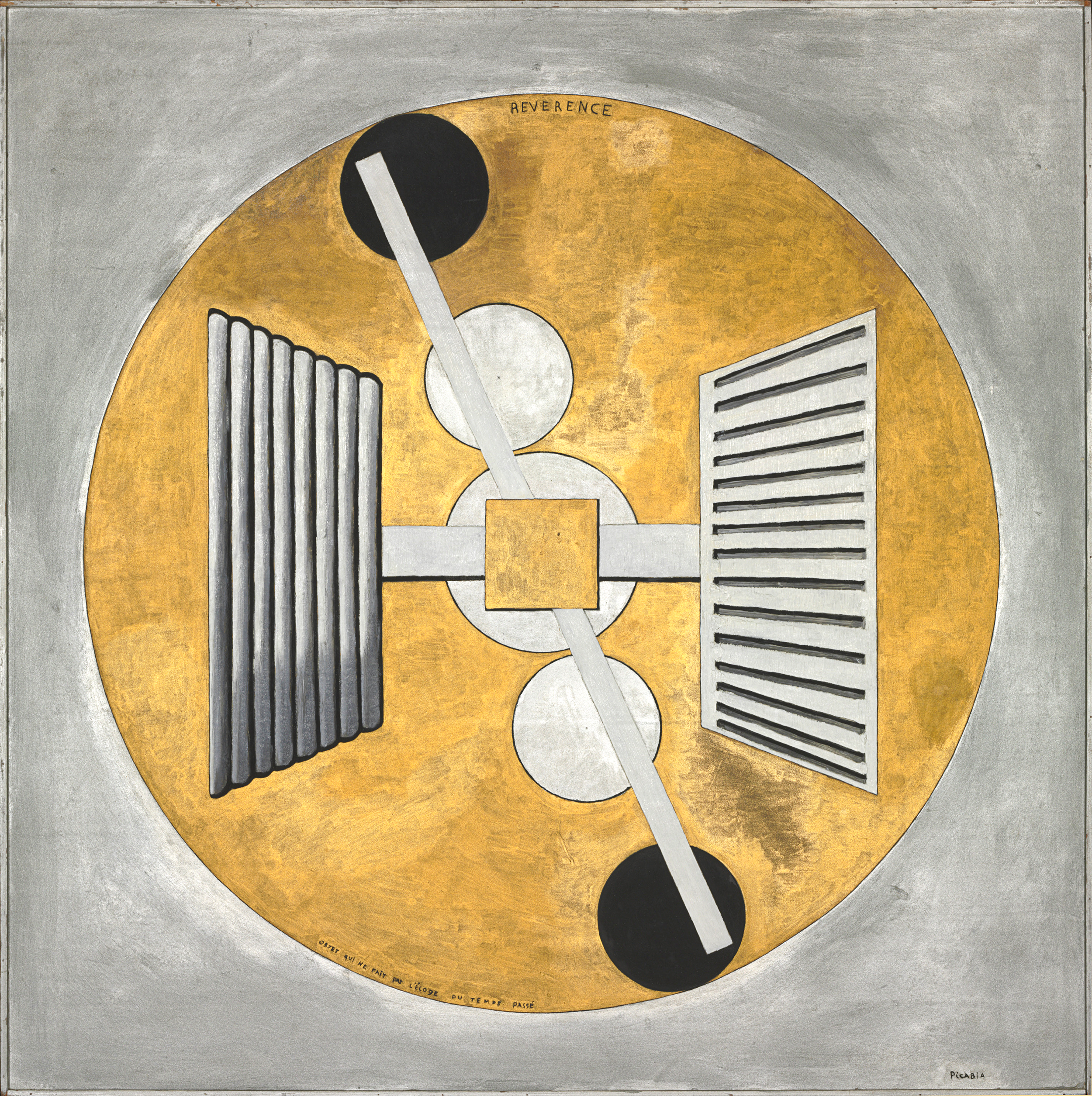Francis Picabia,  Révérence , 1915, Oil and metallic paint on paperboard, courtesy of The Baltimore Museum of Art, Baltimore, MD.