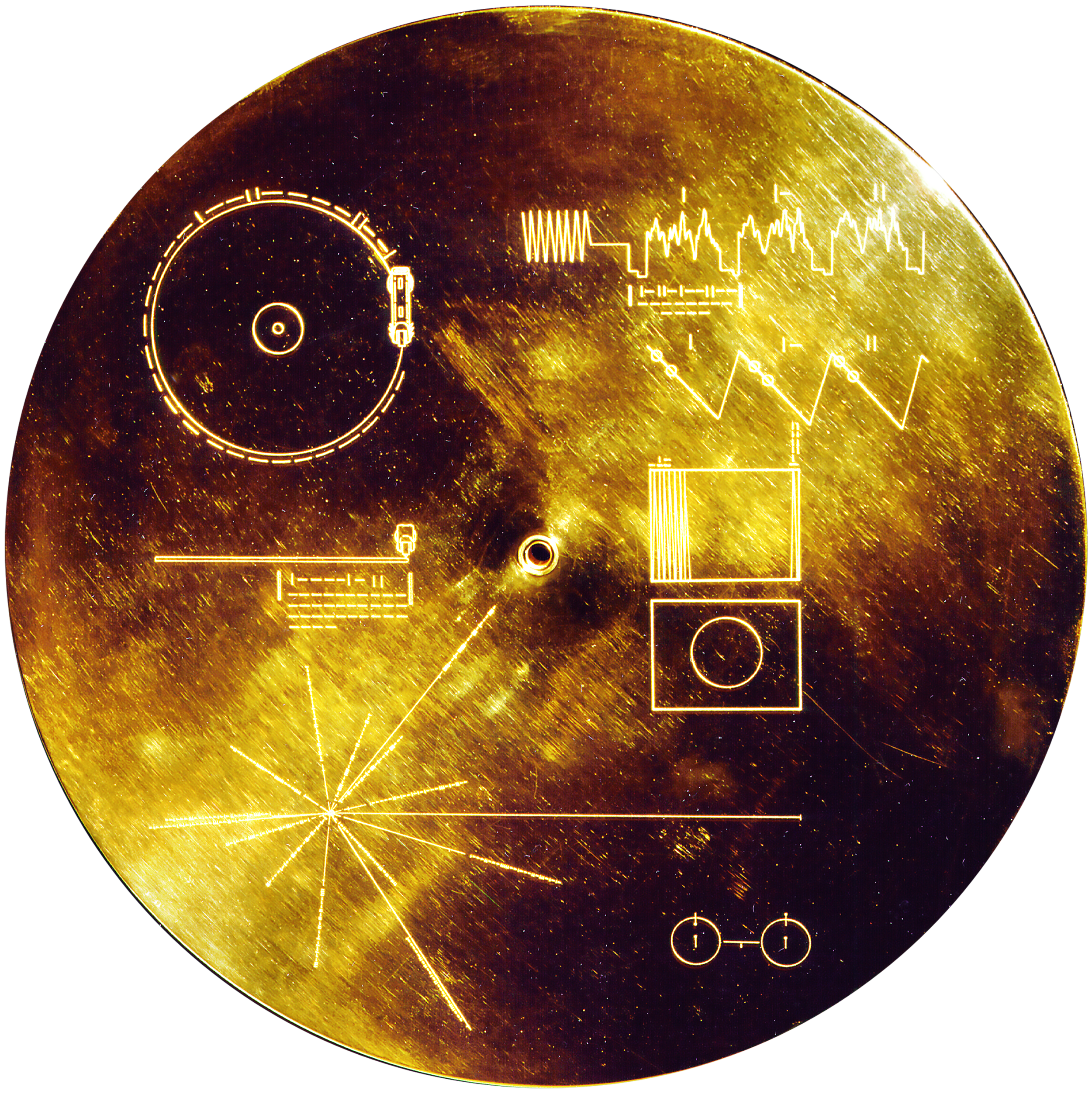 Cover of the Voyager Golden Record, 1977, Aluminum, uranium-238.
