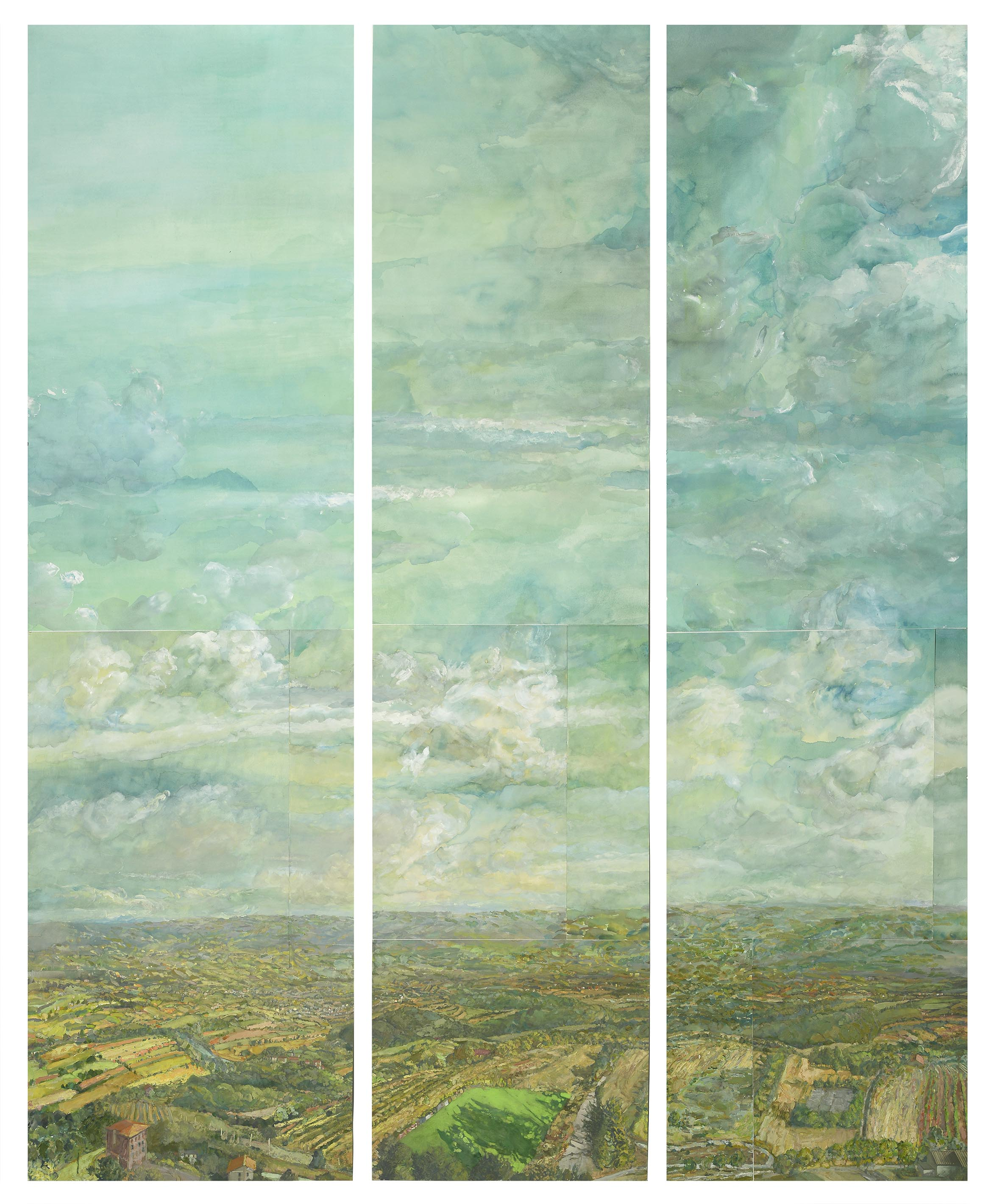 Barry Nemitt, View from Montecastello, Triptych, 2017. Gouache on paper, 83 x 67 in. Collection of Jim and Carol Trawick Foundation.