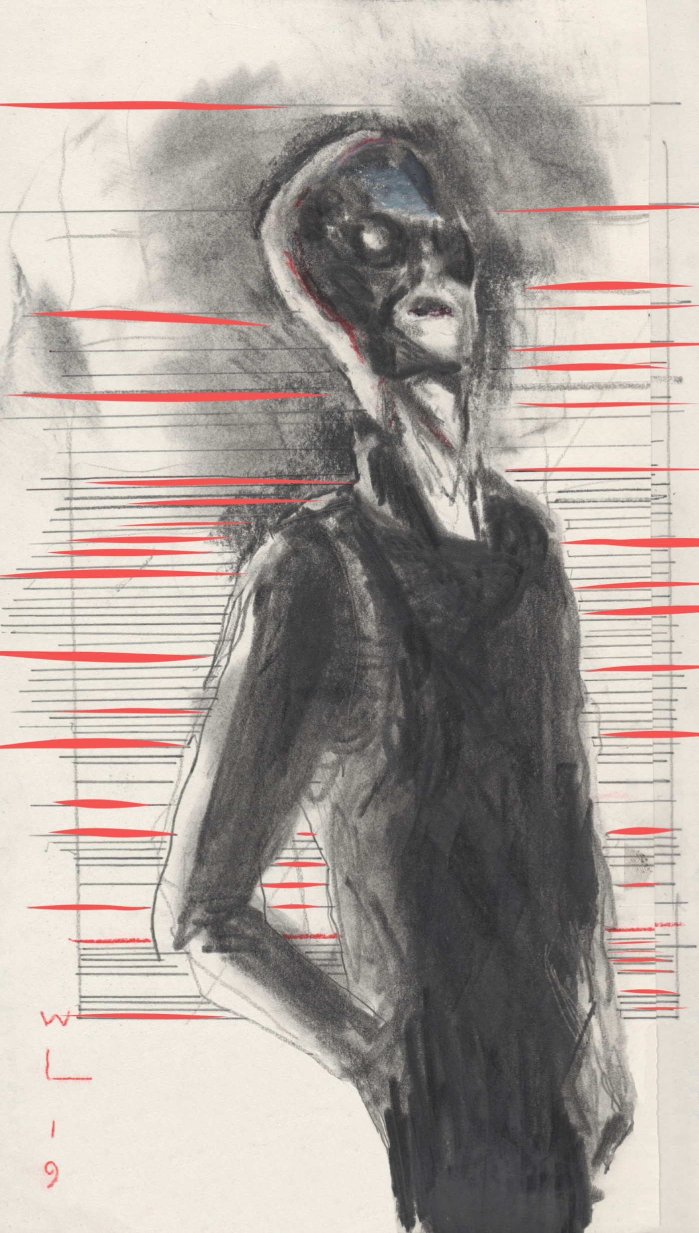 "Lou Reed after Metal Machine Music Cover photo, 2019. Graphite with touches of oil pastel on archival paper, 16""x 6.25"""