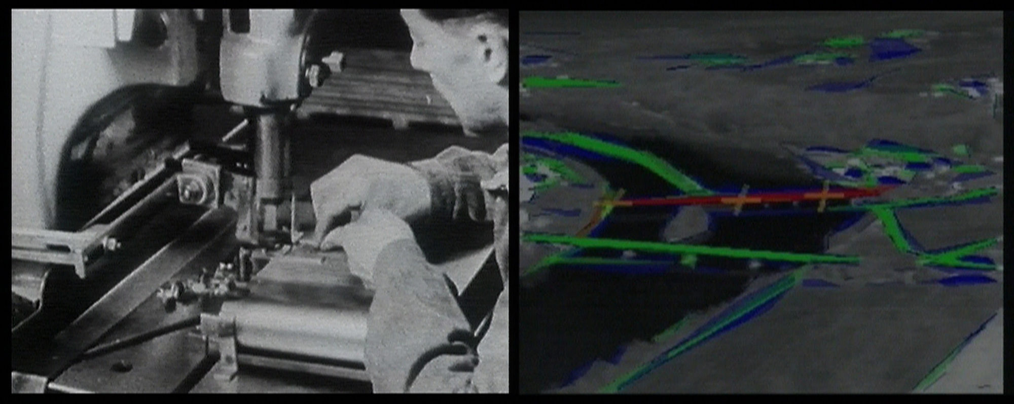 Harun Farocki.  Eye/Machine I . 2001. Two-channel video installation re-edited to single-channel video (color, sound). 23 minutes. Committee on Film Funds. © 2019 Harun Farocki Filmproduktion.