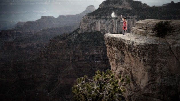 Jane Harris scattering her son Josh's ashes over The Grand Canyon while filming the documentary A Love That Never Dies