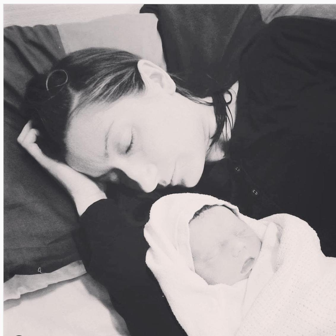 Frankie Brunker and her first daughter, Esme