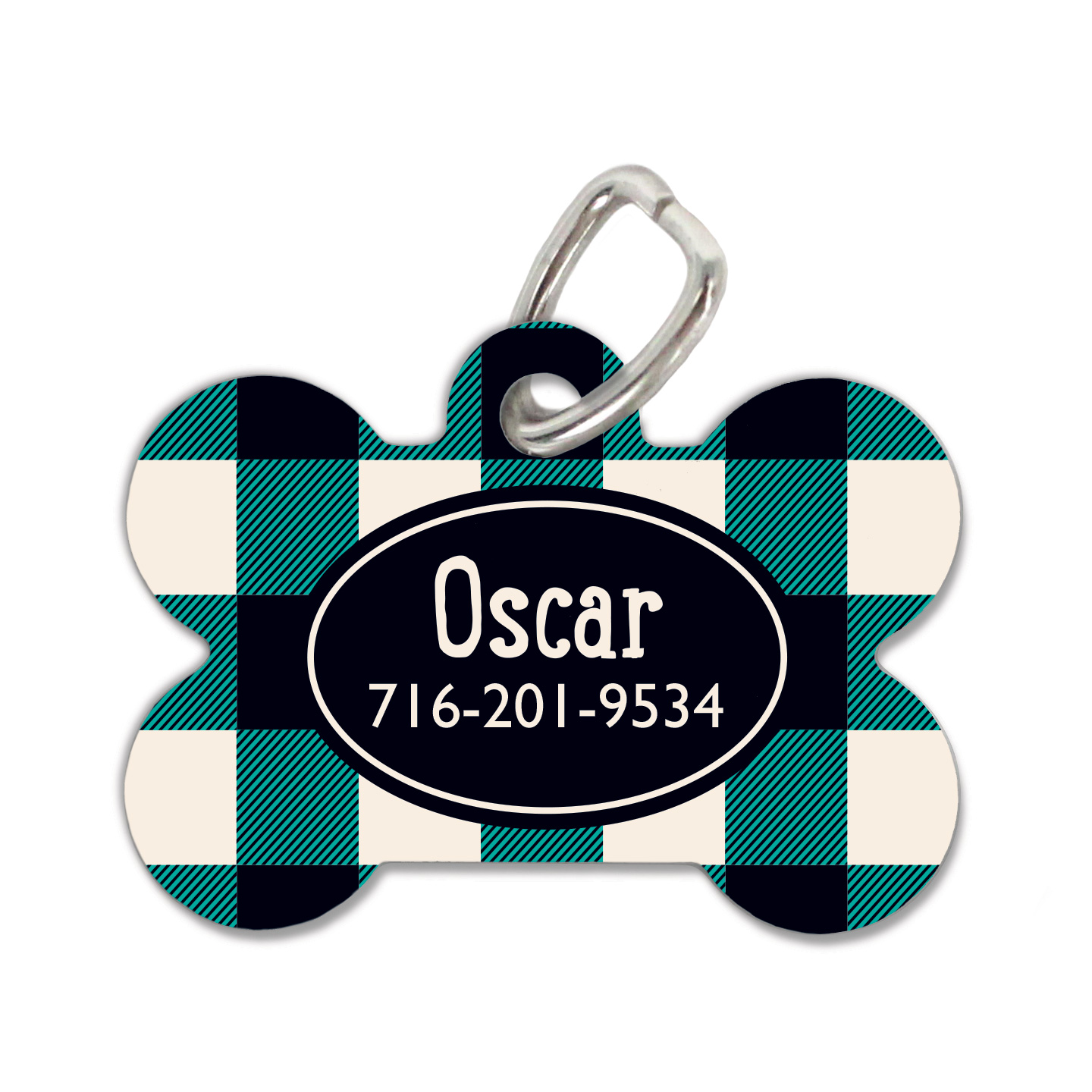 Emerald Plaid Dog Tag