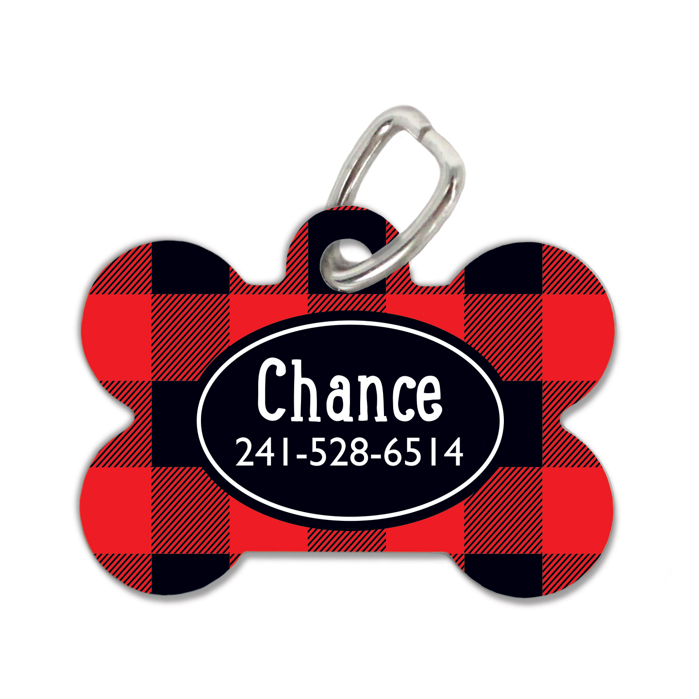 Rustic Red Plaid Dog Tag