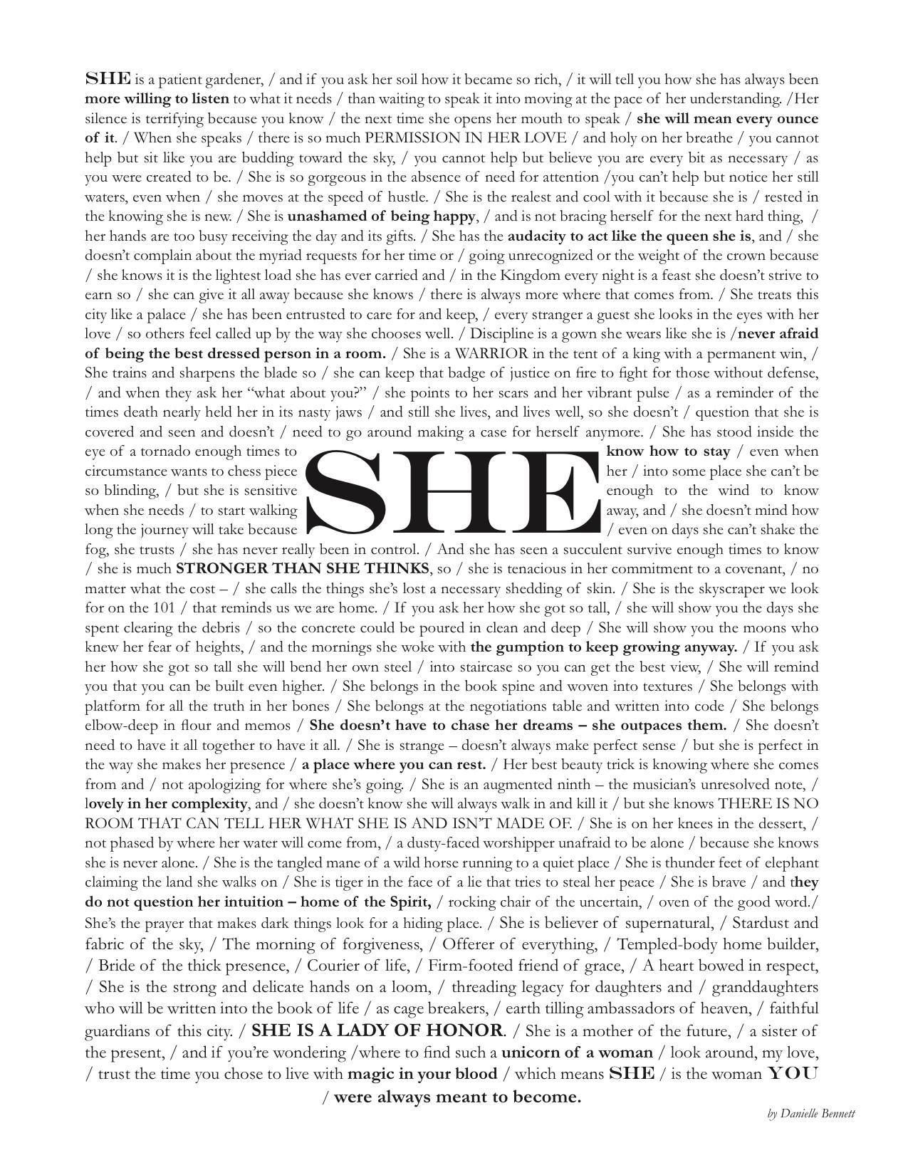 """She"" by Danielle Bennett"