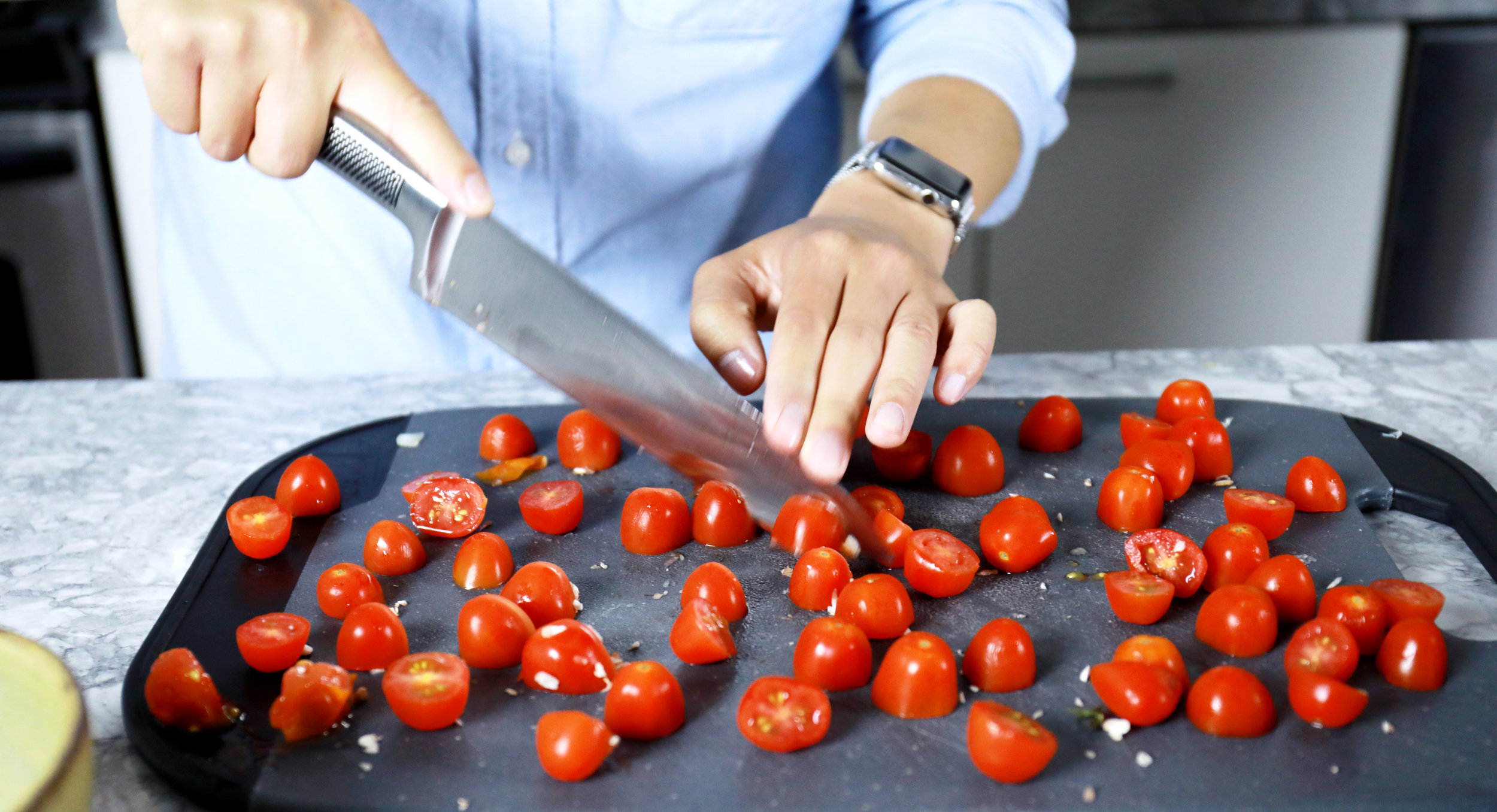Look at all the tomatoes we made Sean cut up!