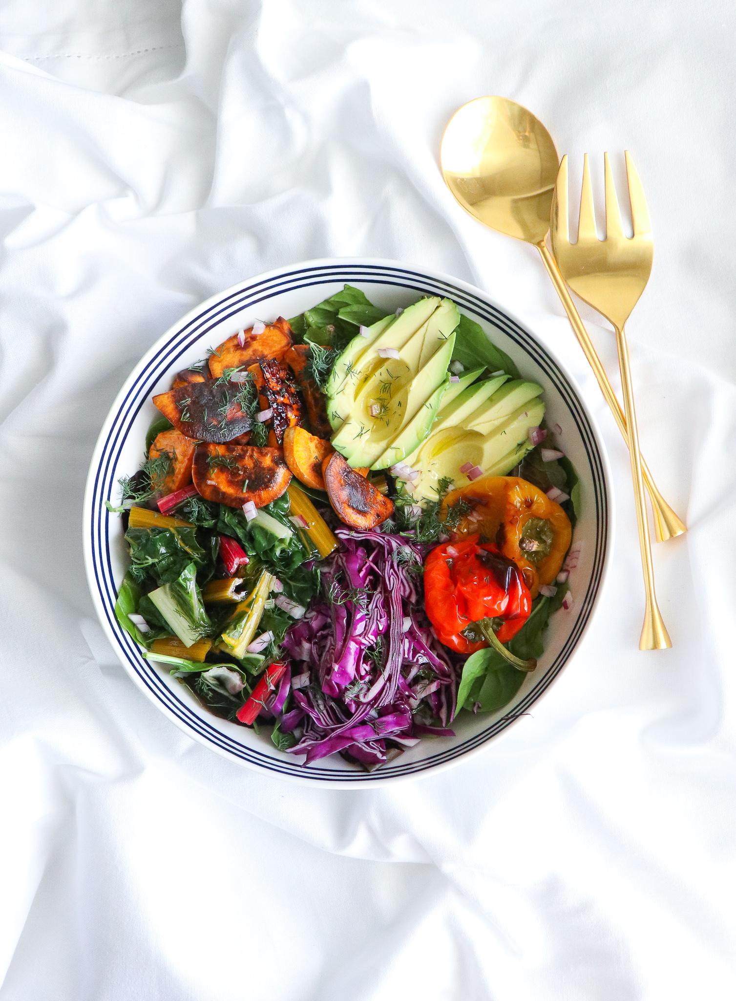 gut-healthy rainbow veggie salad
