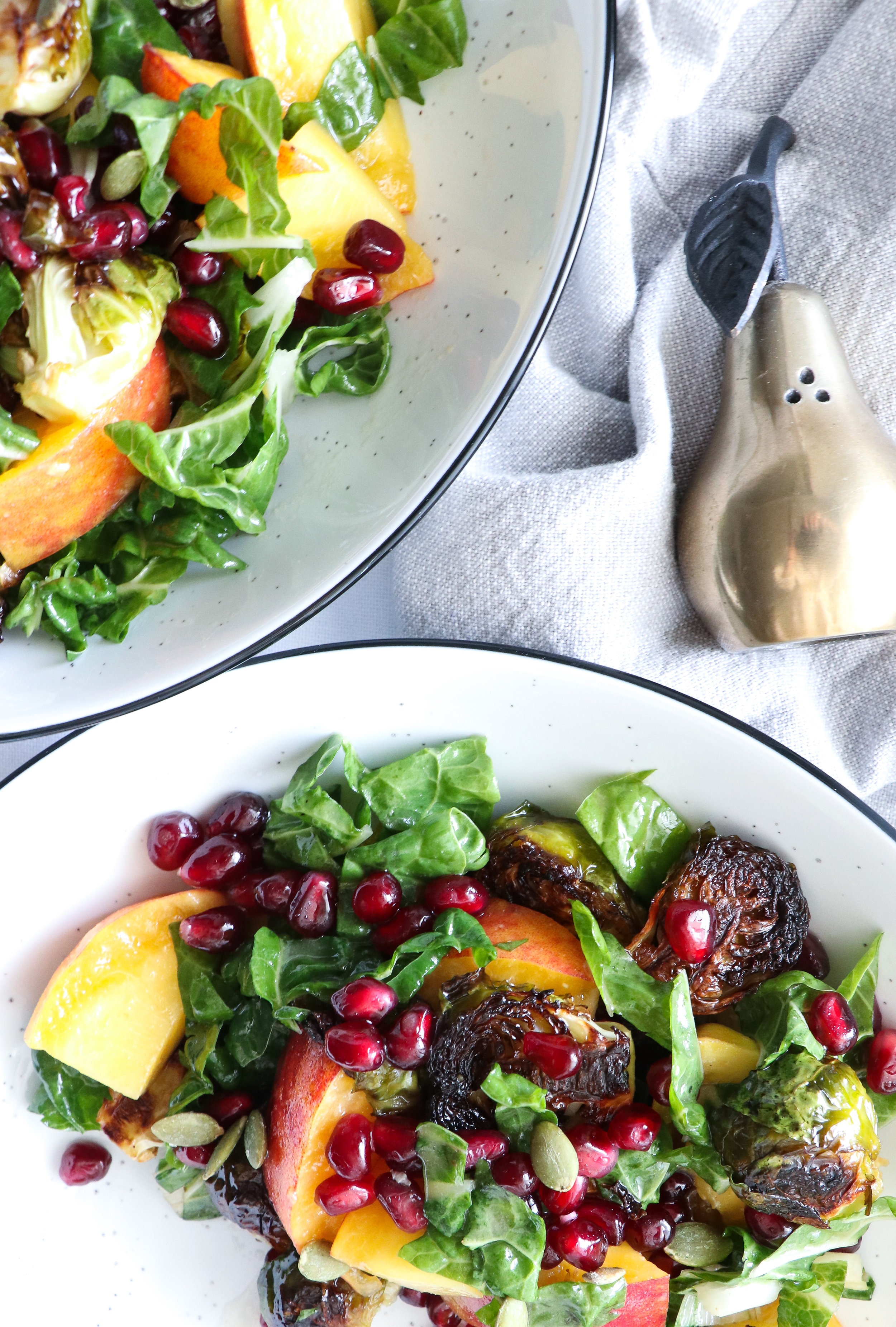 roasted brussels sprout, peach, chard, pomegranate salad.jpg