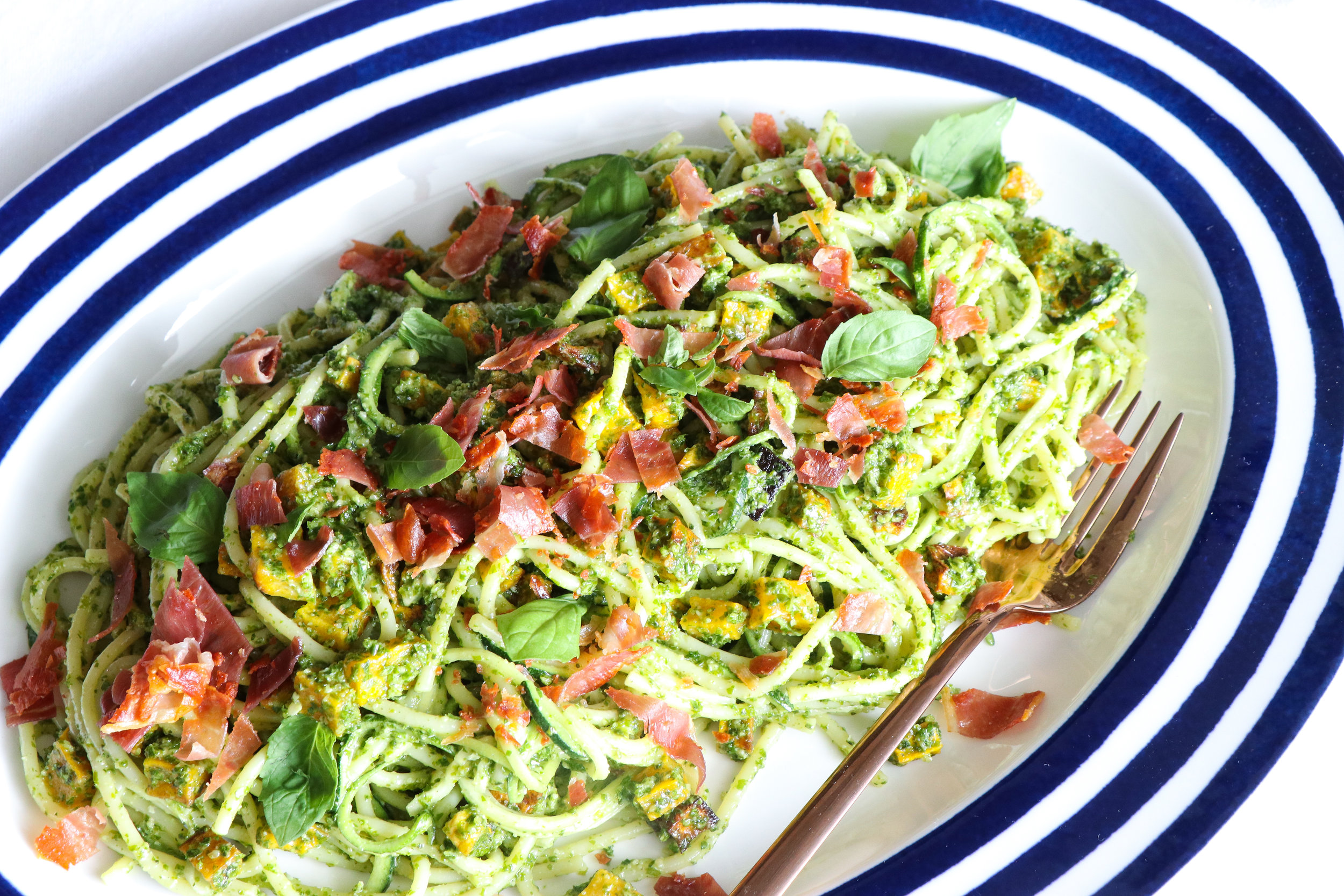 vegan zoodles with nut free pesto recipe