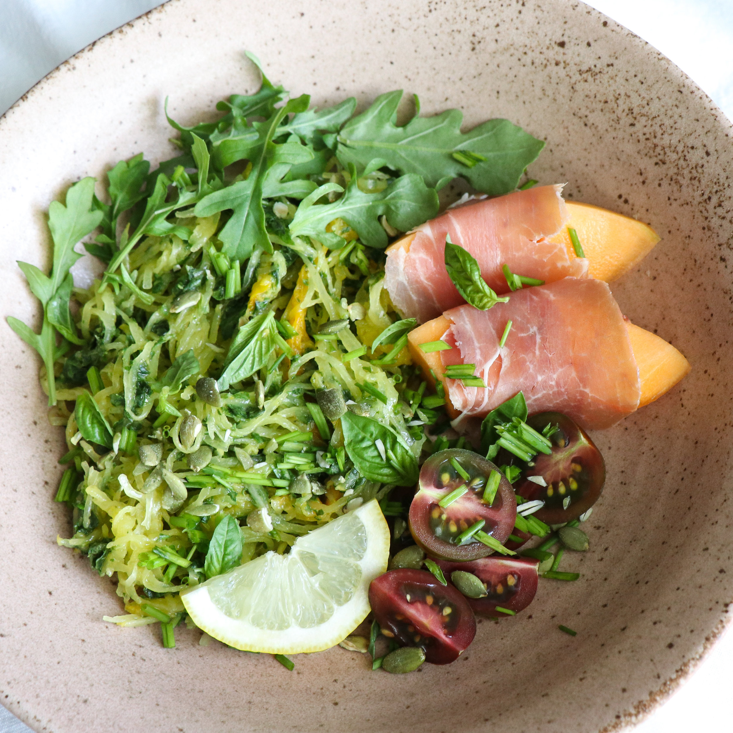 spaghetti squash bowl with prosciutto and cantaloupe 2.jpg