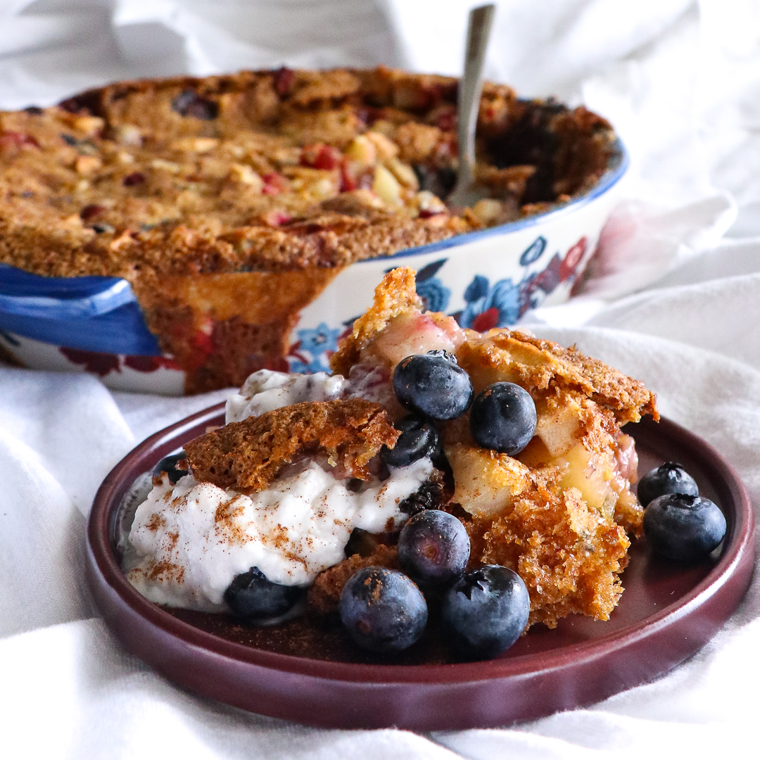 apple blueberry cranberry tray bake clafoutis allergy friendly nut free dairy free egg free soy free