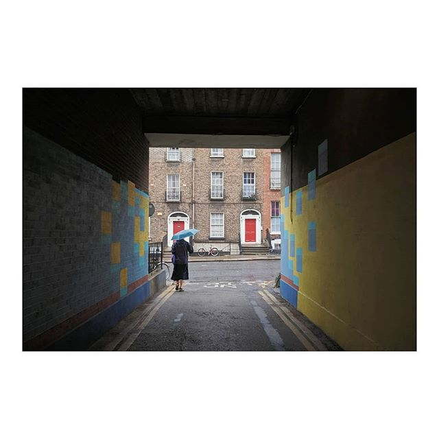 A nun walks onto Belvedere Place, Dublin