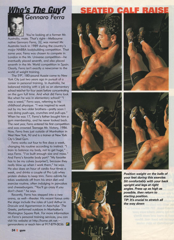 Gym magazine ,  calf routine