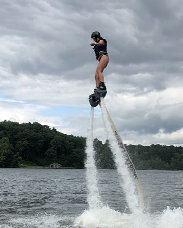 Summer is still here... 90 degrees and sunny on the Lake.  Water is 78 degrees.  Come try the newest coolest watersport ever and FLY over the water on your water jet propelled board.  Learn to swim with the water jet blard in the water then fly out of the water, learn to turn, control the water, carve the air, do spins while standing in place, and then put it all together in the end.  A total thrill every time.