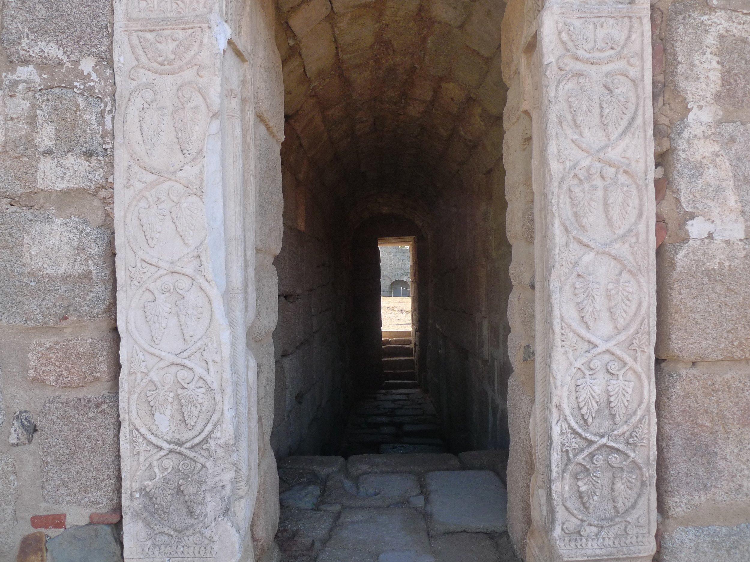 Entrance to the cistern at Alcazaba with Visigoth pillars