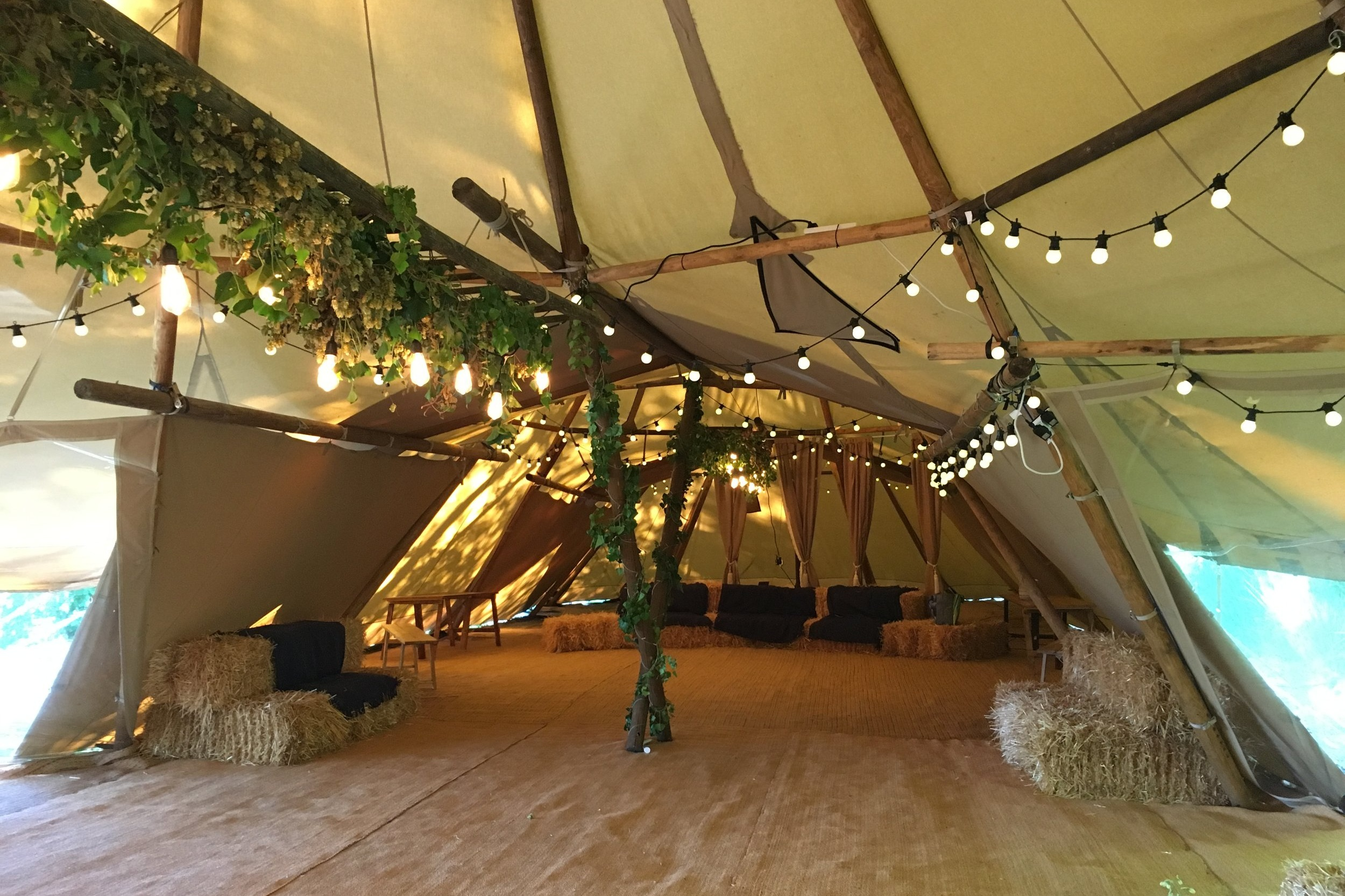The tipi forms part of Preston Court's 'Wilderness Weddings'.