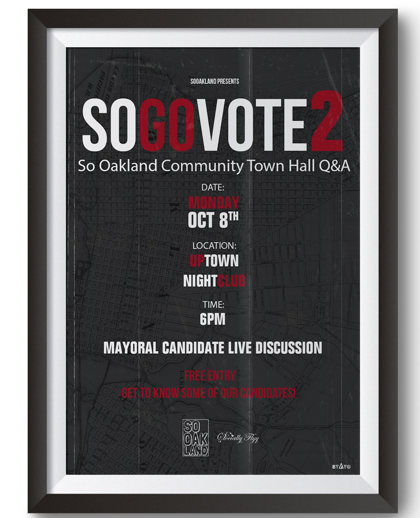 SoGoVote - Come join SoOakland Collective & SociallyFly Events in this Oakland Mayoral Candidate live Discussion and Q&A.Get to know this years candidates, hear about the changes they want to implement for the City of Oakland if they were to win the seat of Mayor.This discussion will be moderated by: Davey DEVENT: FREE ADMISSIONTo Register to Attend:https://goo.gl/forms/cRNoQgkd4bRzt0IE3