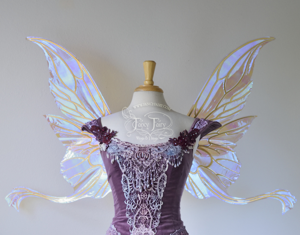 Guinevere Fairy Wings, Iridescent Lilac with Gold Veins - Platinum Edition