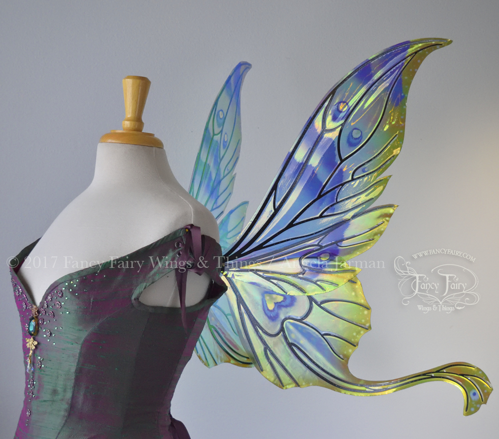 Guinevere Fairy Wings, Painted Green & Blue with Black Veins Side - Platinum Edition