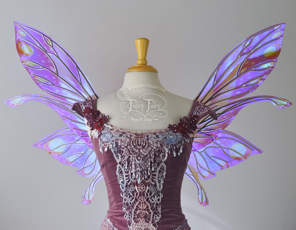 Salome Iridescent Fairy Wings Painted Fuchsia & Green w/ black Veins