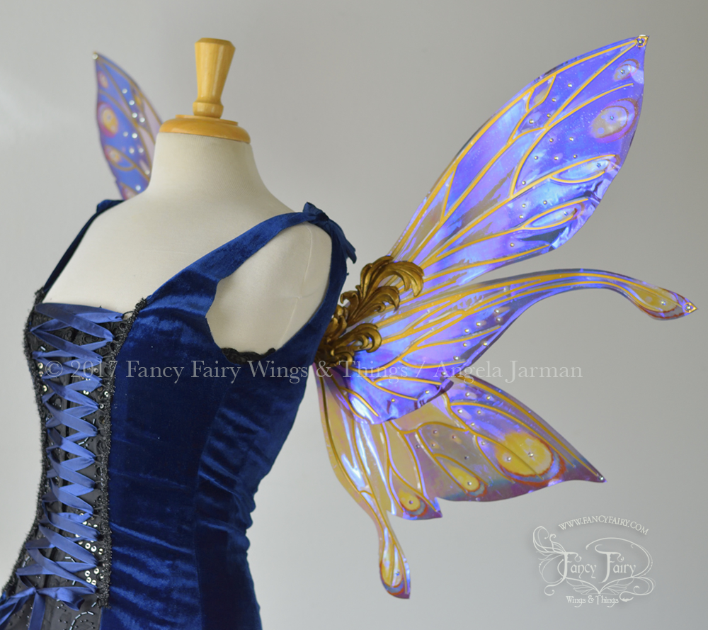 Salome Iridescent Fairy Wings Painted Celestial Baroque Theme with Gold Veins, Crystals