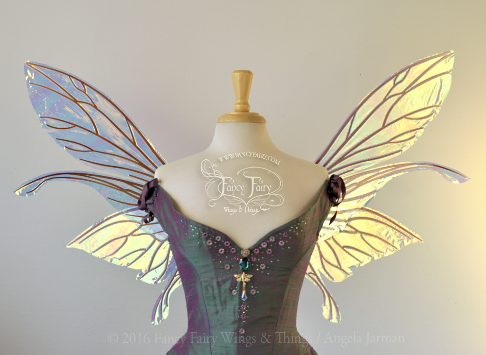 Salome Iridescent Fairy Wings Clear Diamond Fire with Copper Veins