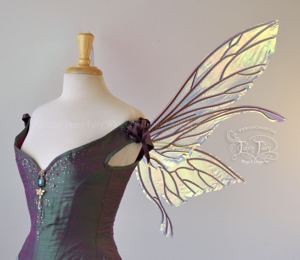 Salome Iridescent Fairy Wings Clear Diamond Fire with Copper Veins Side