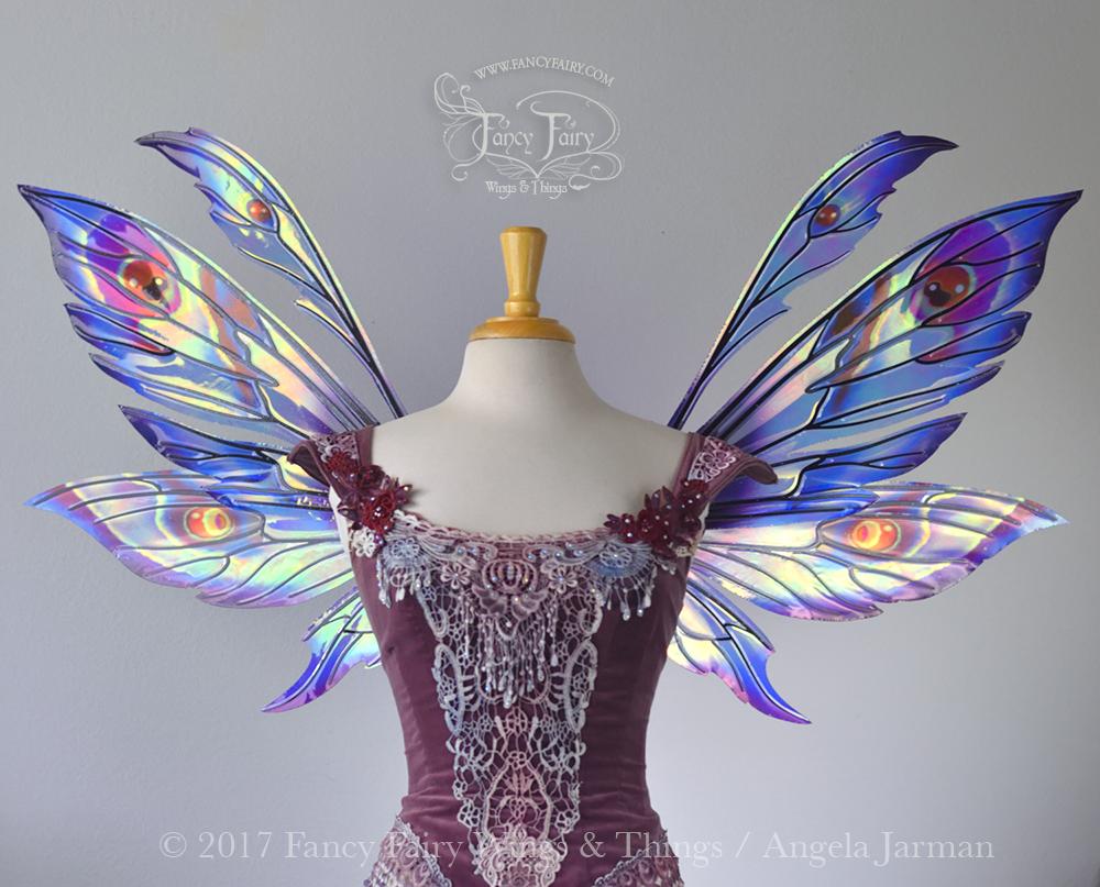 Aynia Fairy Wings Painted Blue & Red w/ Black Veins