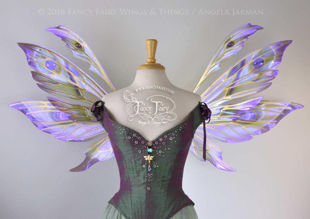 Aynia Fairy Wings Painted Purple & Green w/ Gold Veins
