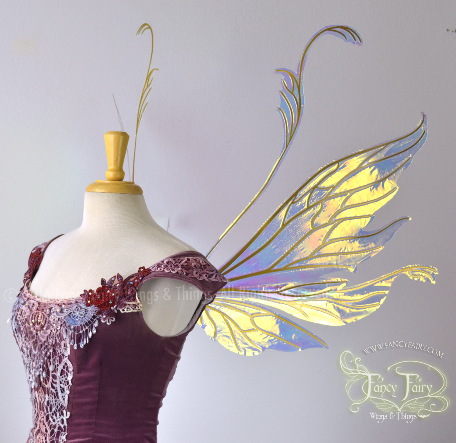 Vivienne Fairy Wings Clear Diamond Fire with Gold Veins