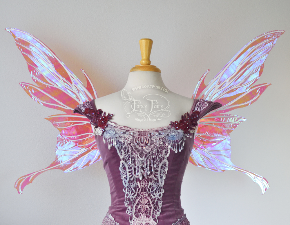 Morgana Fairy Wings in Berry With Pearl Veins