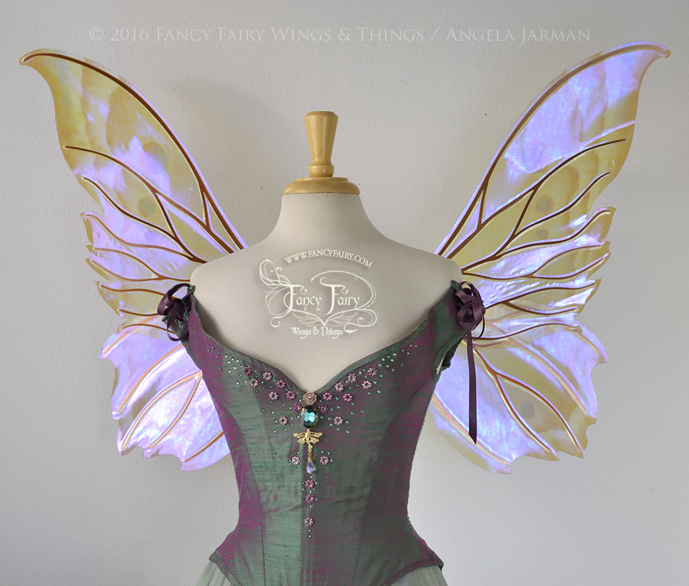 Clarion Fairy Wings Painted Moth Pattern with Copper Veins