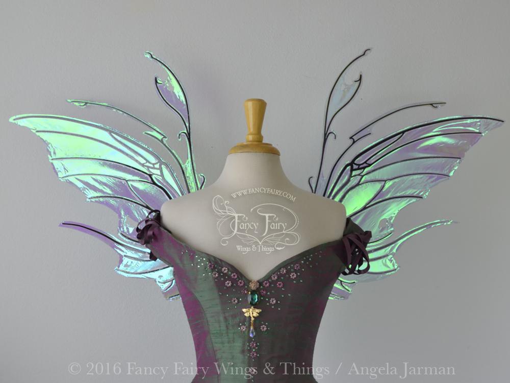 Scythe Fairy Wings in Aquamarine with Black Veins
