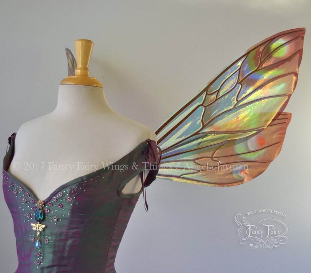 Ellette Fairy Wings Painted Brown & Green with Copper Veins