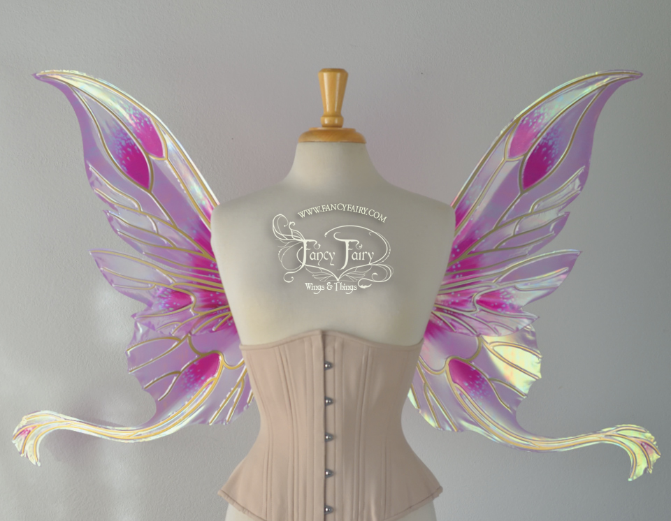 Guinevere fairy wings in Queen Alexandria Pink Poppy theme with candy coat gold veining