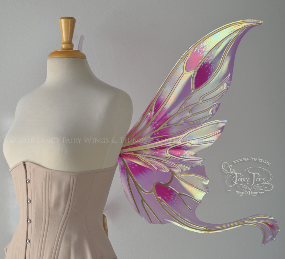 "Guinevere ""Queen Alexandria Pink Poppy"" wings side view"