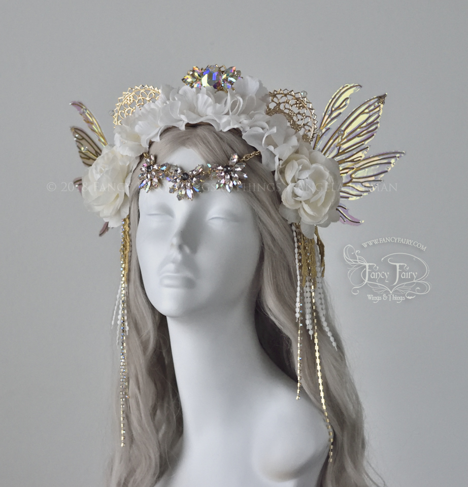 White & Gold Much Inspired Floral Headdress, $310