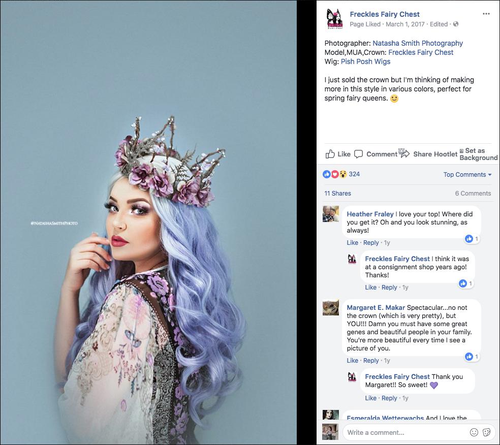 Ashley's very similar crown posted to her own public FB page