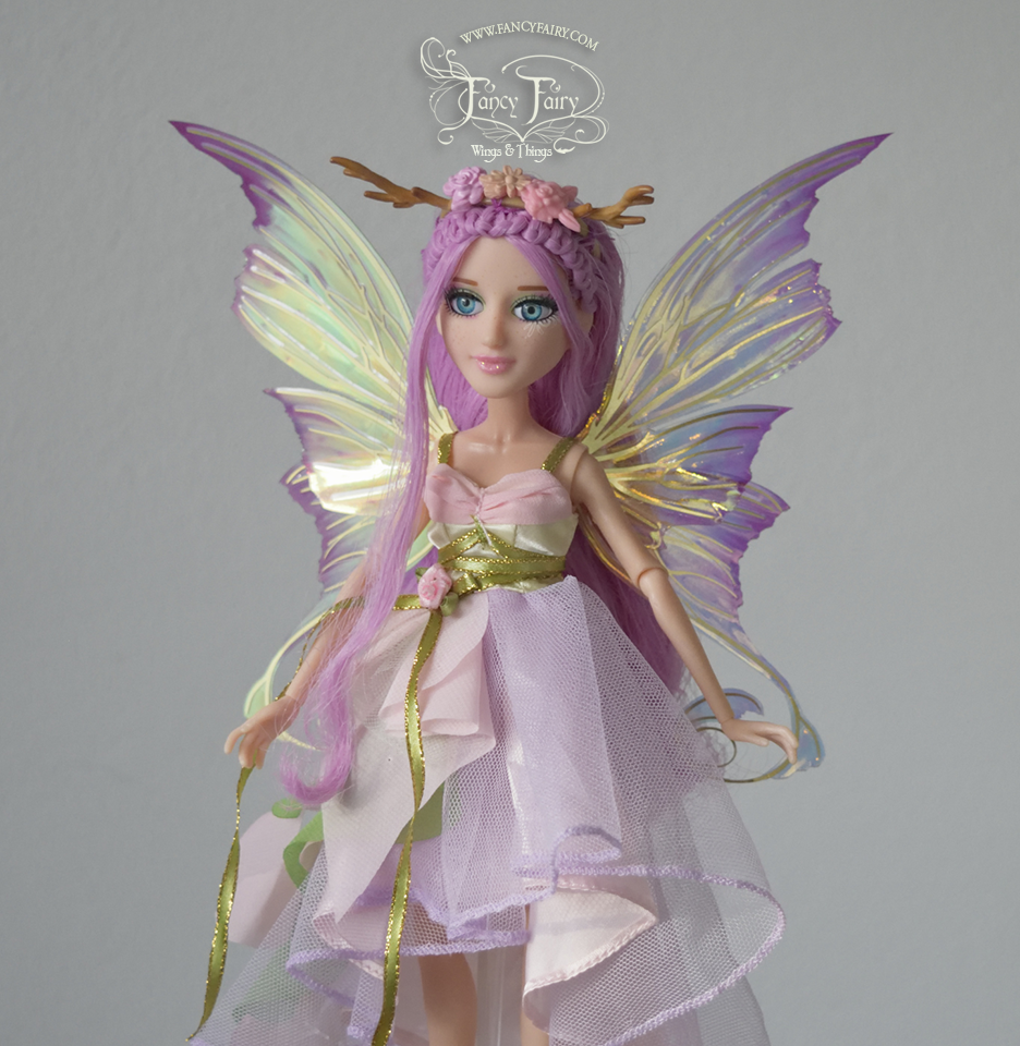 Aphrodite 5 inch Doll Wings in Tea Rose with Brass Veins