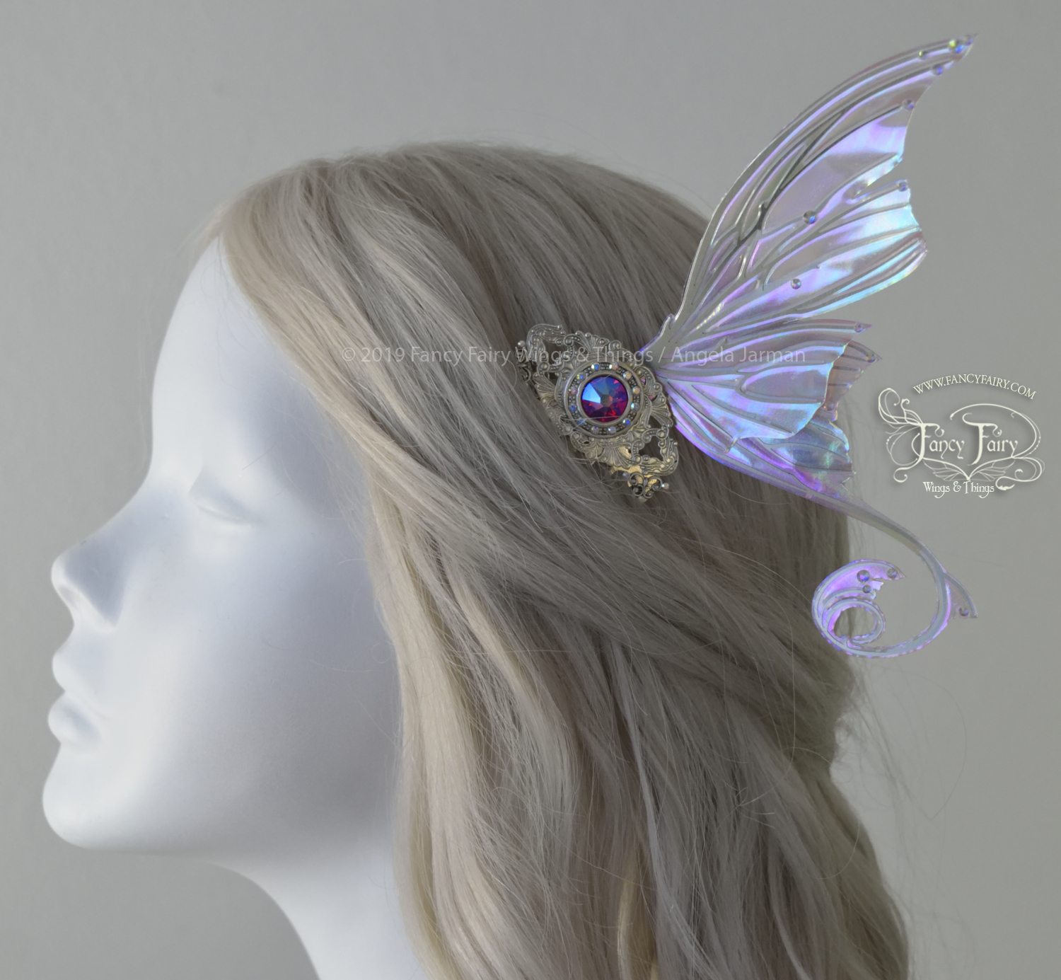 Aphrodite Sugarplum Silver Winged Hair Combs