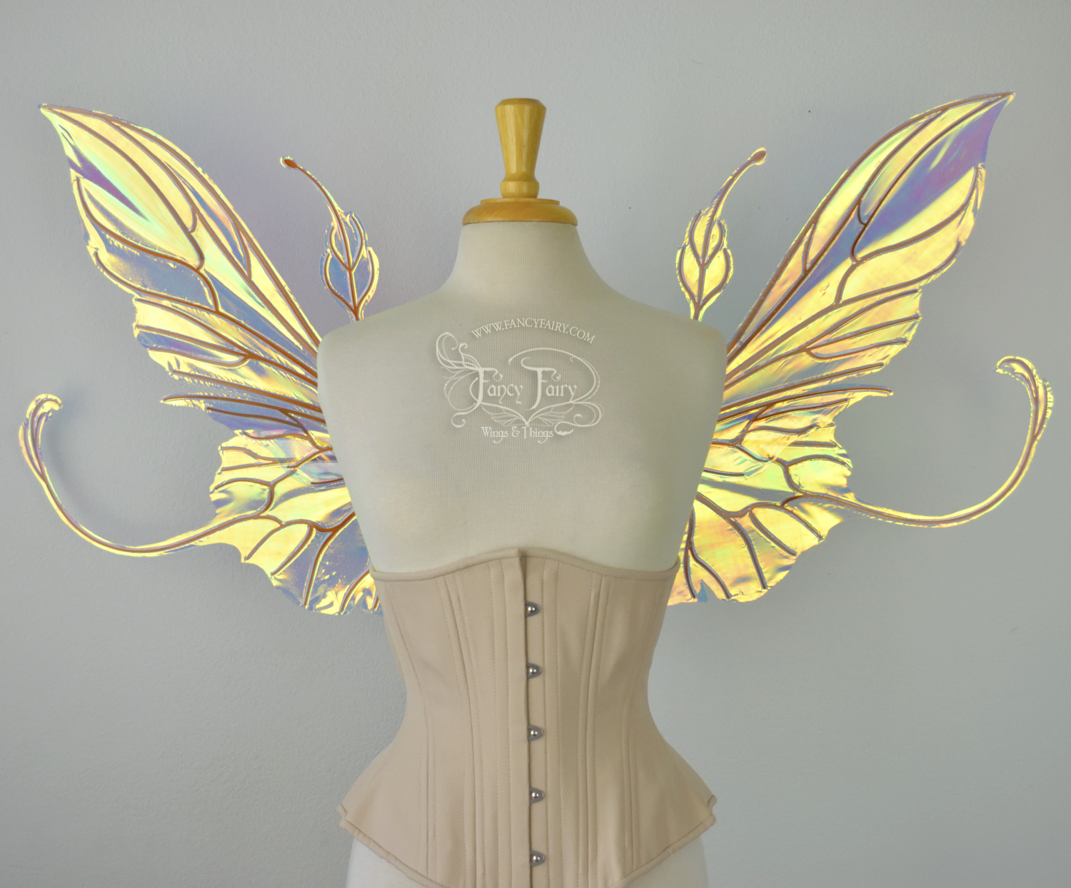 Elvina Convertible Fairy Wings in Clear Diamond Fire w/ black veins