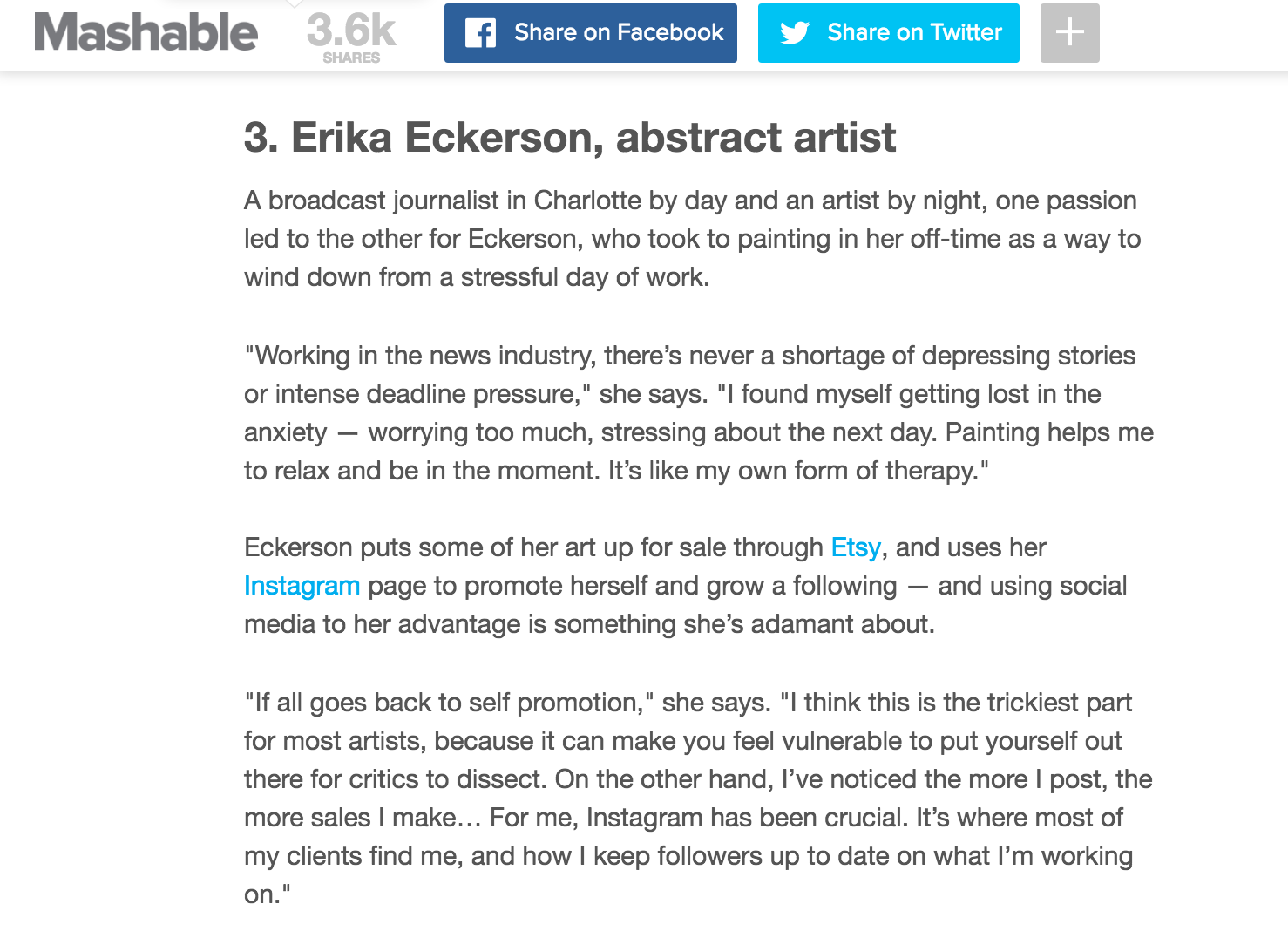 Defying the starving artist stereotype: Mashable.com